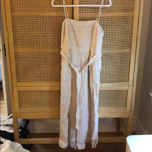 Tan and white striped J Crew Jumpsuit